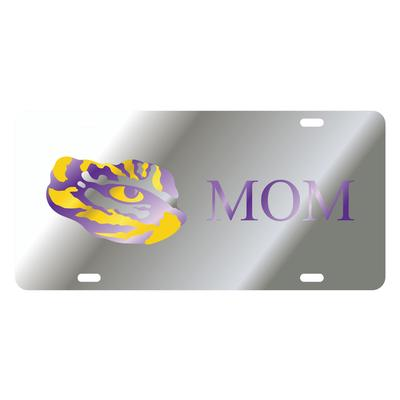 LSU License Plate Silver Mom