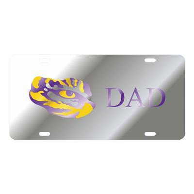 LSU License Plate Silver Dad