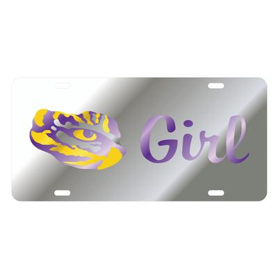LSU License Plate Silver LSU Girl