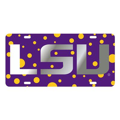 LSU License Plate Purple and Gold Dots