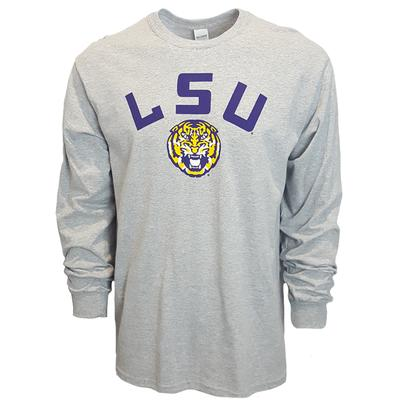 LSU Arch Logo Long Sleeve Tee GREY