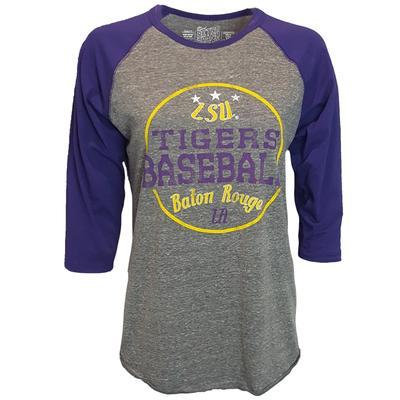 LSU Retro Brand Margie Raglan Baseball Tee