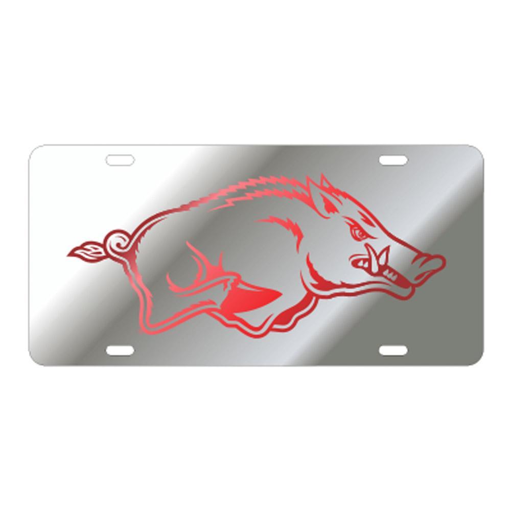 Arkansas Running Hog Silver License Plate
