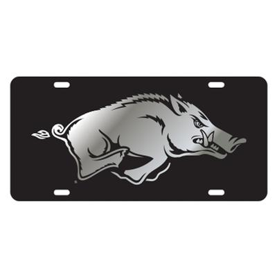 Arkansas Running Hog Silver/Black License Plate