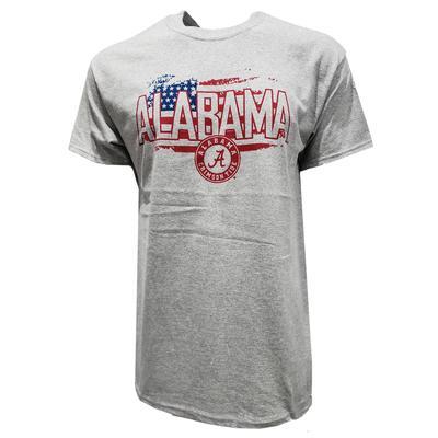 Alabama American Flag Distressed Logo Tee