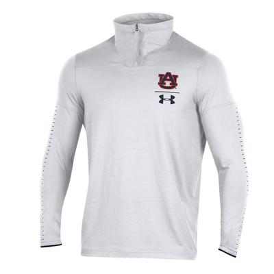 Auburn Under Armour Coaches 1/4 Zip Pullover WHITE
