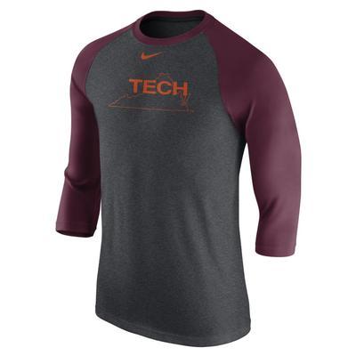 Virginia Tech Nike Triblend 3/4 Sleeve Vault Raglan Baseball Tee