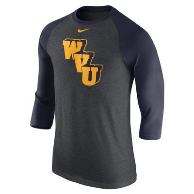 West Virginia Nike Triblend 3/4 Sleeve Vault Raglan Baseball Tee