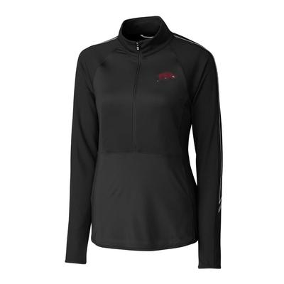 Arkansas Cutter & Buck Women's Pennant Sport 3/4 Zip Pullover