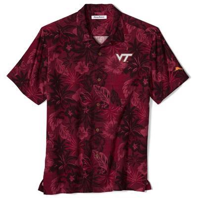 Virginia Tech Tommy Bahama Fuego Floral Camp Shirt