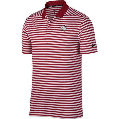Alabama Nike Golf Retro Elephant Dry Victory Stripe Polo CRIMSON
