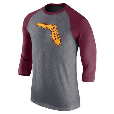 Florida State Nike Triblend 3/4 Sleeve Vault Logo Raglan Baseball Tee