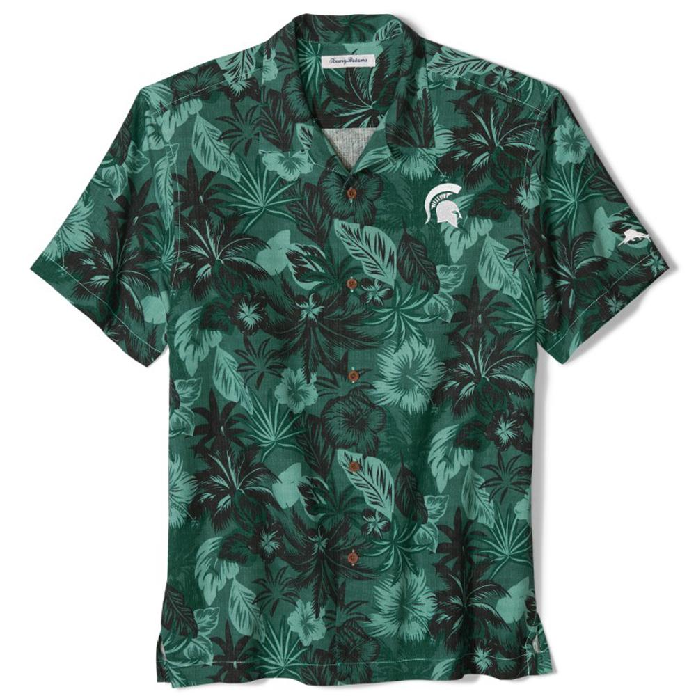Michigan State Tommy Bahama Fuego Floral Camp Shirt