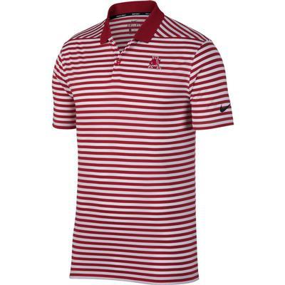 Arkansas Nike Golf Vault Logo Dry Victory Stripe Polo CRIMSON