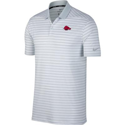 Arkansas Nike Golf Retro Running Hog Dry Victory Stripe Polo PURE_PLATINUM