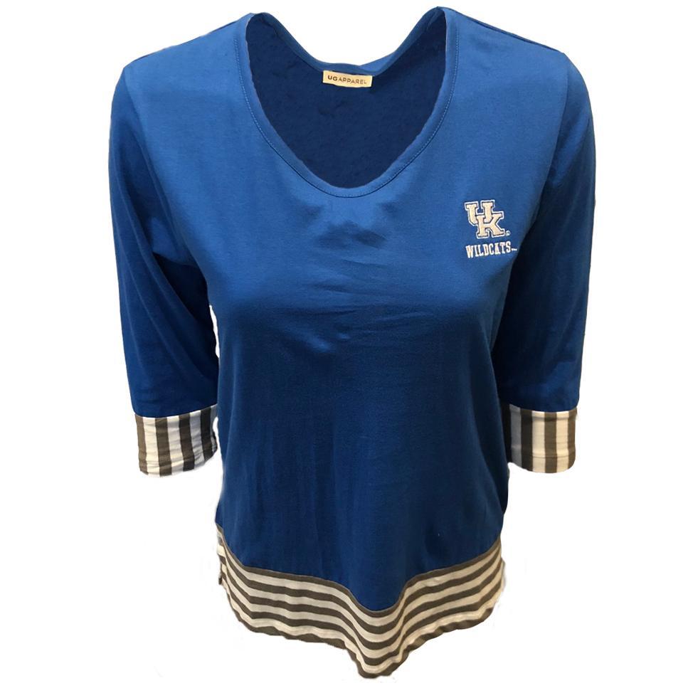 Kentucky Ug Apparel 3/4 Sleeve Striped Colorblock Top