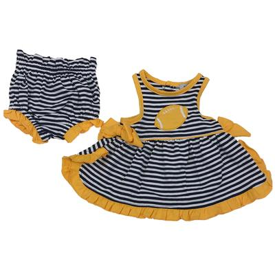 Navy and Gold Infant Football Bloomer Set