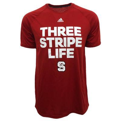 NC State Adidas Three Stripe Life Ultimate Tee