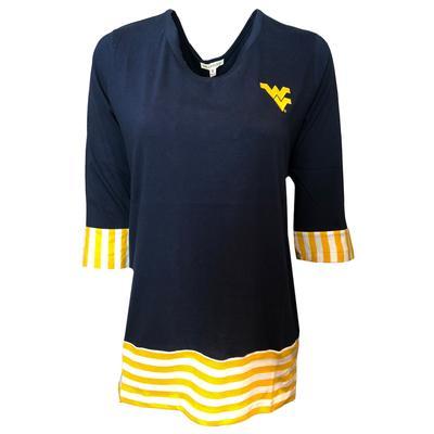 West Virginia UG Apparel 3/4 Sleeve Striped Colorblock Top