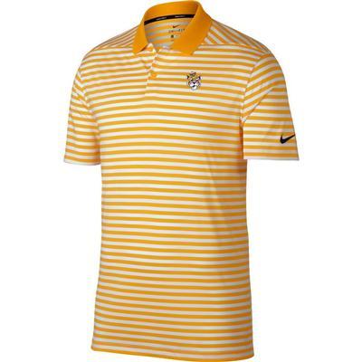 LSU Nike Golf Vault Tiger Dry Victory Stripe Polo