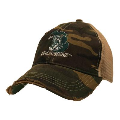Michigan State Retro Brand Vault Sparty Cap CAMO/MESH