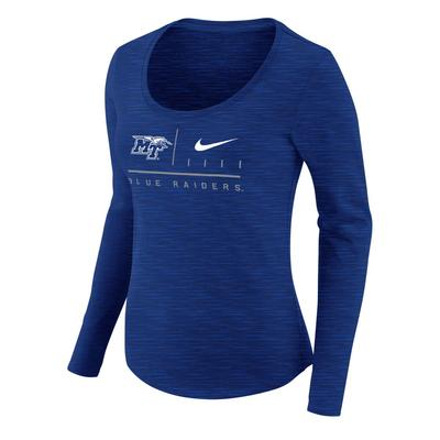 MTSU Nike Women's Dri-Fit Cotton Long Sleeve Slub Tee