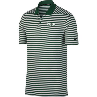 Michigan State Nike Golf Block Vault Dry Victory Stripe Polo