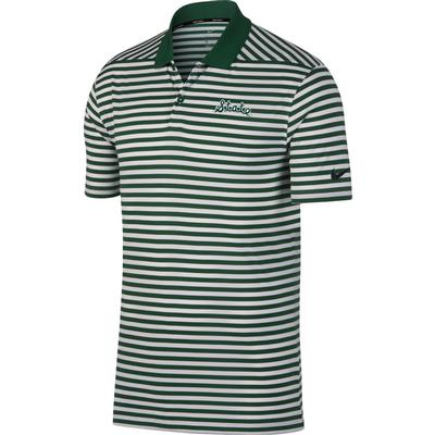 Michigan State Nike Golf Script State Dry Victory Stripe Polo