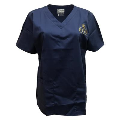 ETSU Women's V-Neck Top Scrubs