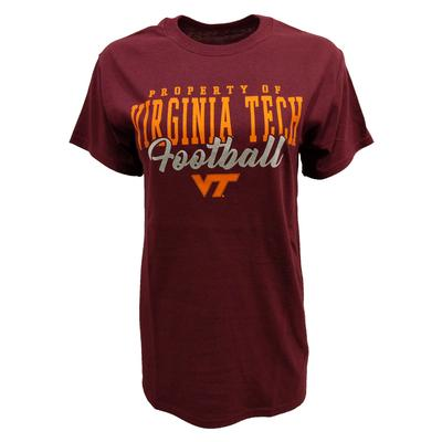 Virginia Tech Silver Script Football T-Shirt