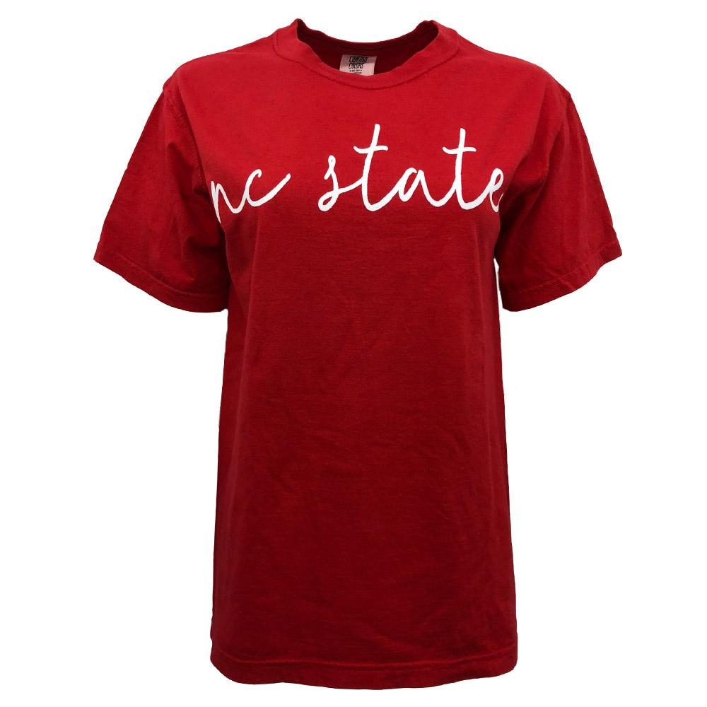 Nc State Comfort Colors Simple Script Tee
