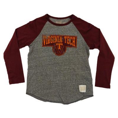 Virginia Tech Youth Vault Logo Raglan Tri-Blend T-Shirt