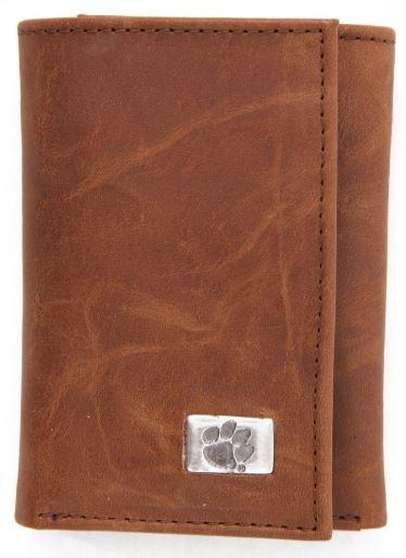 Clemson Tri- Fold Leather Wallet
