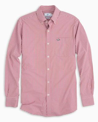 Arkansas Southern Tide Gingham Intercoastal Woven Shirt