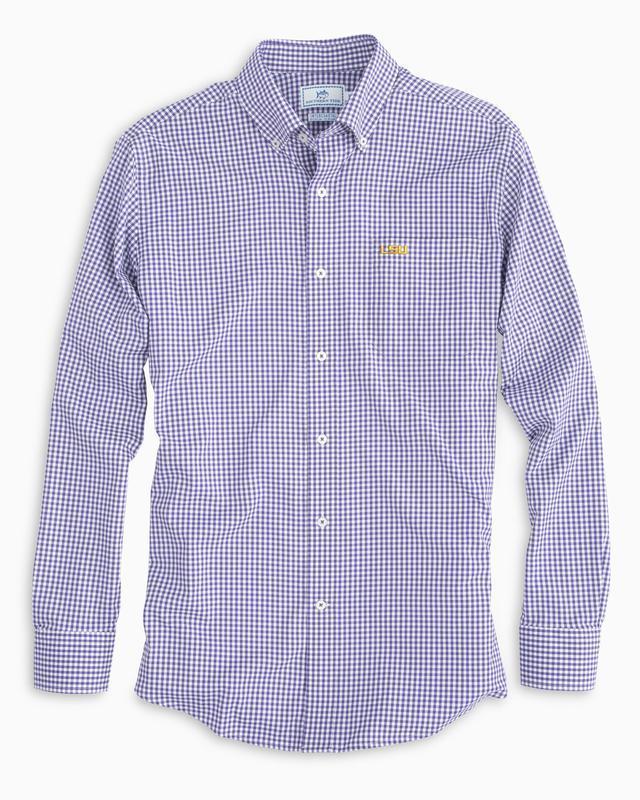 Lsu Southern Tide Gingham Intercoastal Woven Shirt