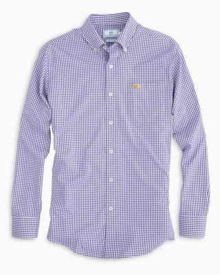 LSU Southern Tide Gingham Intercoastal Woven Shirt