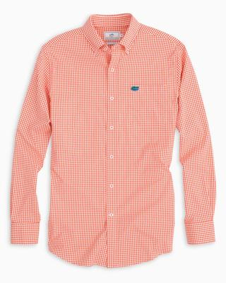 Florida Southern Tide Gingham Intercoastal Woven Shirt ENDZONE_ORANGE