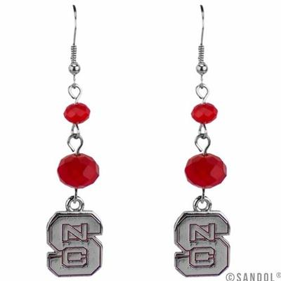 NC State Beaded Drop Logo Earrings
