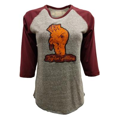 Virginia Tech VPI Gobbler Margie Baseball Sleeve T-Shirt