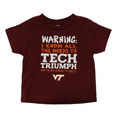Virginia Tech Toddler Warning Song T-Shirt