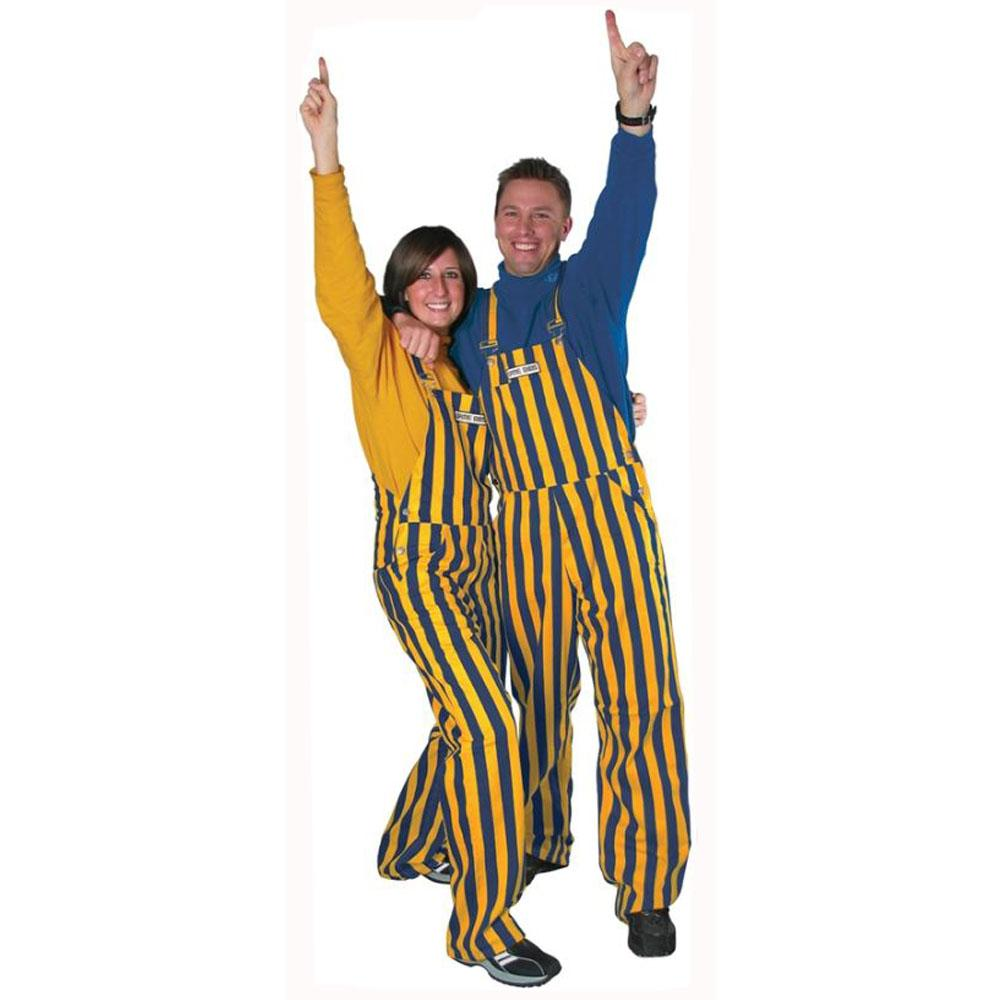 Navy And Gold Adult Game Bibs Striped Overalls