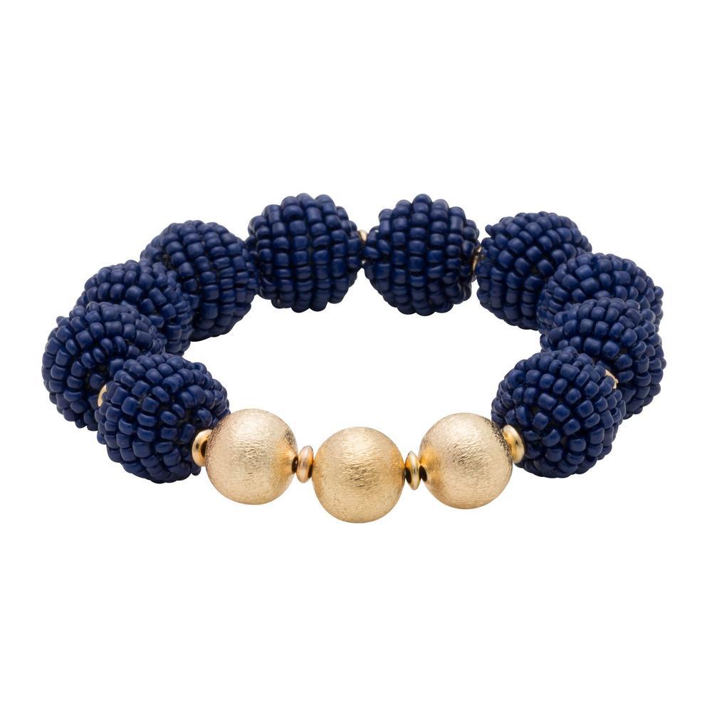 Navy Seed Bead Ball Stretch Bracelet