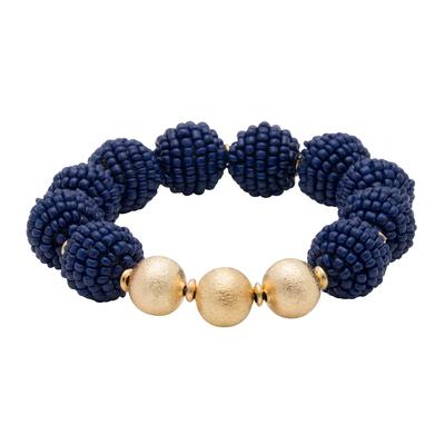 Navy Seed Bead Ball Stretch Bracelet