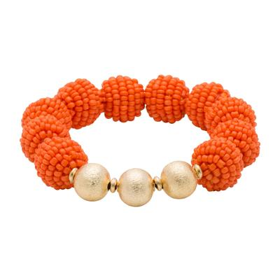 Orange Seed Bead Ball Stretch Bracelet