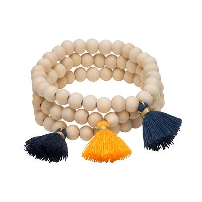 Navy & Yellow Triple Cotton Tassel Bracelets