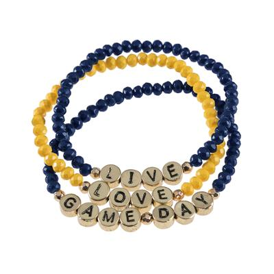 Navy & Yellow Gameday Beaded Bracelet Set