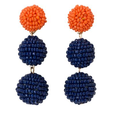 Navy & Orange Bead Ball Drop Earrings