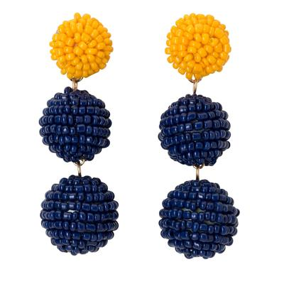 Navy & Yellow Bead Ball Drop Earrings