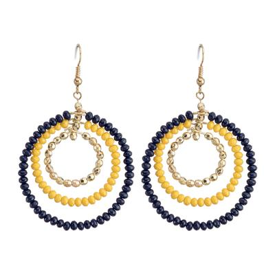 Navy & Yellow Triple Hoop Beaded Earrings