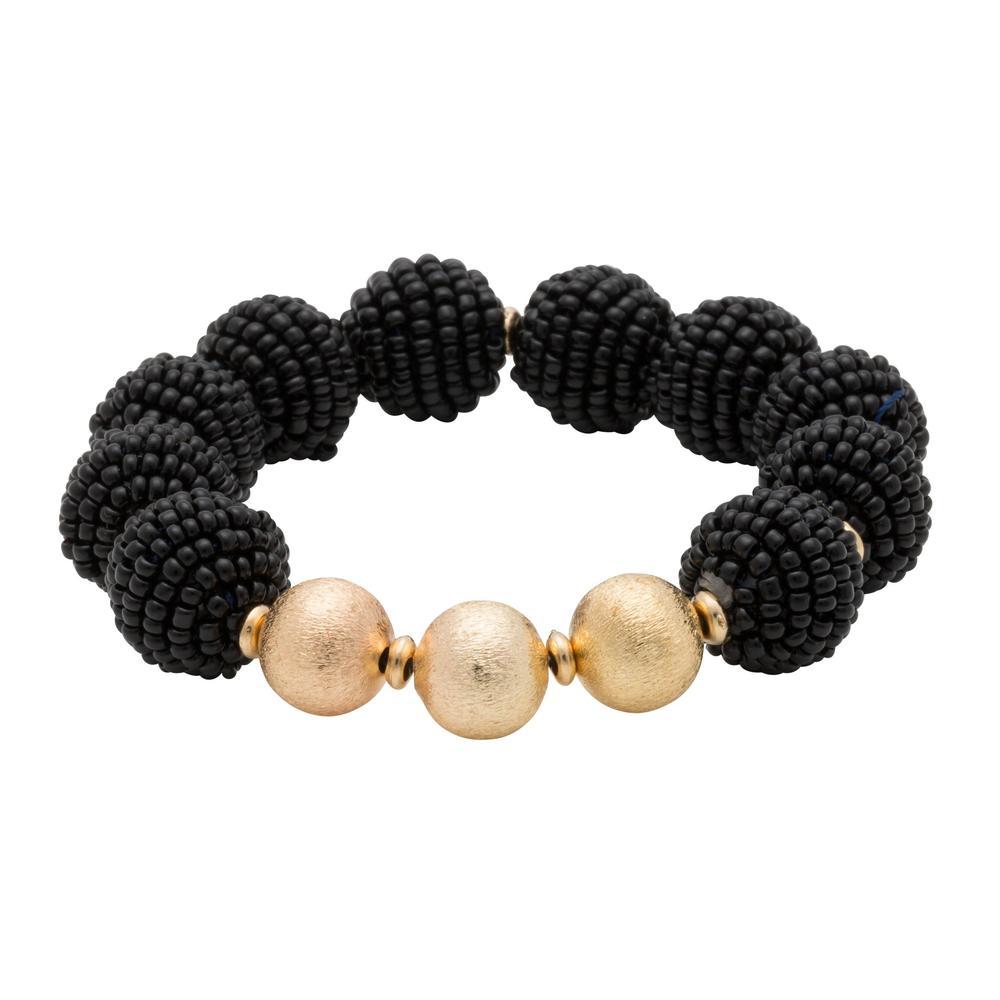 Black Seed Bead Ball Stretch Bracelet